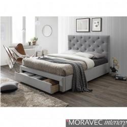 Moderní postel s úložným prostorem SANTOLA, šedá látka, 160x200cm