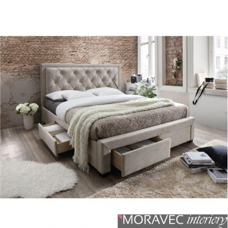 Manželská postel s roštem OREA, 160x200cm, látka šedohnědá