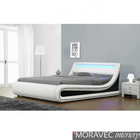 Manželská postel MANILA s RGB LED osvětlením, bílá / černá, 180x200cm
